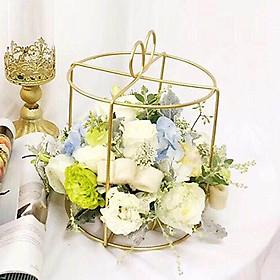 Lẵng Giỏ Cắm Hoa Và Quà Tặng LẴNG HOA FLOWER BOX SẮT MẠ ĐỒNG