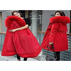 Áo khoác nữ lót lông cừu, áo phao , chất liệu vải dù lót bông ấm áp, thiết kế có nón lông trẻ trung, phong cách Hàn Quốc- Thời trang XUÂN ANH