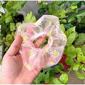 Cột tóc scrunchies voan lưới hoa cúc