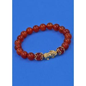 Vòng đeo tay đá Mã Não đỏ 8 ly - cẩn Tỳ Hưu Phong Thủy inox vàng VMNOTHHKV8 - hợp mệnh Hỏa, mệnh Thổ