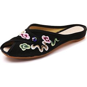 Dép nữ thêu hoa đẹp cổ điển, giày thêu hoa nữ đẹp