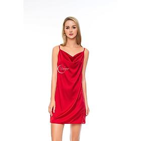 DREAMY-VS09-70-Váy Ngủ Lụa Cao Cấp, Váy Ngủ Nữ, Váy Ngủ Gợi Cảm, Váy Ngủ Sexy, Váy Ngủ Lụa Hai Dây, Đầm Ngủ Lụa Mặc Nhà Hai Dây Cổ Đổ Phối Ren Hai Bên Hông Gợi Cảm Sexy