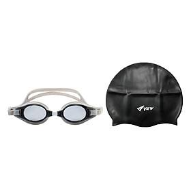 Bộ Kính Bơi View V500S-LSL (Đen Xám) Và Nón Bơi View V31 -BK (Đen)