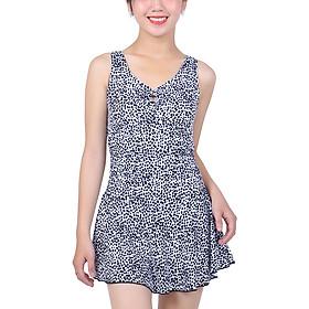 Bikini 1 Mảnh Monica Họa Tiết Váy Xòe BIT 3005 - Trắng Đen (Free Size)