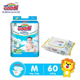 Tã Dán Goo.n Premium Cao Cấp Gói Cực Đại Size M60 (60 Miếng) + Tặng bịch khăn ướt Goo.N Premium 80 miếng cao cấp