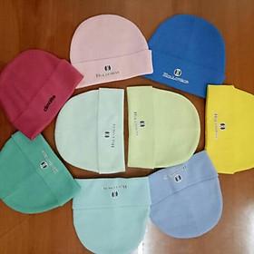 Set 5 nón vải thun in chữ cho bé sơ sinh từ 0-6 tháng-y hình