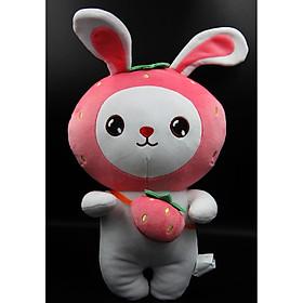 Thú nhồi bông thỏ đeo túi dễ thương cao 39 cm (Tặng kèm móc khóa da bò thật màu ngẫu nhiên) BA0191