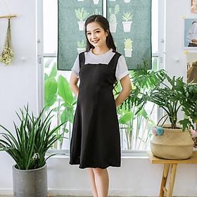 Đầm bầu cổ và tay nhúng bèo trắng đen Emum