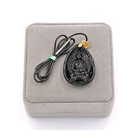 Vòng cổ dây dù - Dược sư Như lai - thạch anh đen 4cm - kèm hộp nhung - vị Phật thầy thuốc