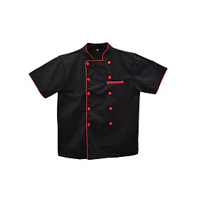 Áo Bếp Đen Viền Đỏ Tay Ngắn
