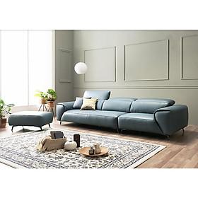 Sofa da phòng khách 2.6m, màu xanh - Nội thất My House