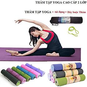 Thảm Tập YoGa 6mm 2 lớp + Bao Thảm Tập Yoga  (Giao Màu Ngẫu Nhiên)