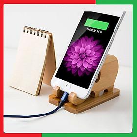 Giá gỗ đỡ điện thoại để bàn,ipad,máy tính bảng không bị rung lắc khi xem video,Mặt gỗ được chế tác mịn,Gỗ tre ép thanh chống cong vênh mối mọt,Có thể tháo rời gấp gọn,Kích Thước 11,6 x 6,5 x 7,5cm - Đế gỗ đỡ điện thoại,ipad