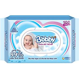 Khăn Ướt Bobby Nắp Nhựa (100 Miếng)-0