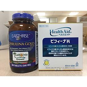 Combo tăng cân: Tảo Mặt Trời Earthrise Spirulina Gold Plus + Men vi sinh Bifina R Nhật bản 60 gói