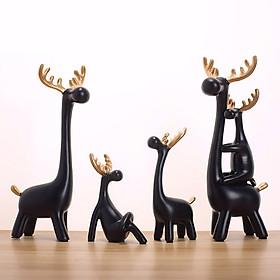 Bộ tượng gia đình hươu đen sừng vàng
