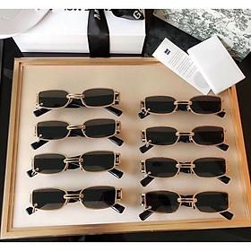Kính râm Mắt vuông nhỏ mini thời trang cho Nam và Nữ (ĐEN) + tặng tuavit Kính xinh mini đa năng