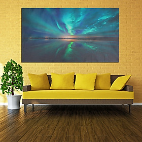 TEAL NORTHERN LIGHTS CANVAS WALL ART PICTURE 18 x 32 INCH FRAMED PRINT