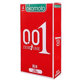 Bao cao su Okamoto 0.01 Hydro Polyurethane (PU). Bao cao su Nhật Bản siêu mỏng chỉ 0.01mm bằng 1/6 độ dày sợi tóc, cho cảm nhận truyền nhiệt nhanh (Hộp 4 Cái)