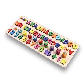 Đồ chơi giáo dục bảng số Tiếng Việt, giáo Cụ Montessori cho bé học đếm số, cột tính bậc thang và bảng chữ cái, đồ chơi gỗ giúp phát triển trí não giáo dục theo phương pháp montessori – Tặng Kèm Móc Khóa 4Tech.