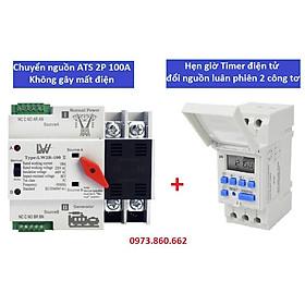 Combo ATS 2P 100A + công tắc hẹn giờ điện tử AHC15A