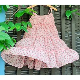 Váy hai dây in hoa bé gái 1-10 tuổi