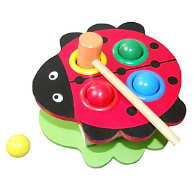 High Quality Baby Boys Girls Beat Ball Toys New Novelty Cute Ladybug Beetle Wood Beat Ball Hot Sale Toys For Over 1 Year