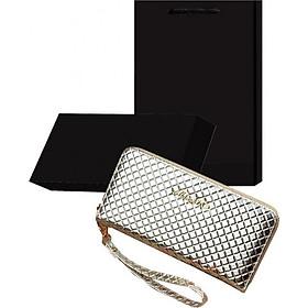 Bộ quà tặng ví / bóp nữ cao cấp màu bạc có hộp túi kèm theo