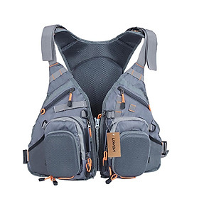 Lixada 3 In 1 Mesh Fly Fishing Vest And Backpack Breathable Outdoor Fishing Safety Life Jacket Fisherman Utility Vest - Grey
