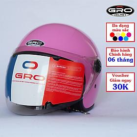 Mũ bảo hiểm có kính GRO T818, thời trang đẹp cho nam và nữ – kính dài, Hồng Nhạt Bóng