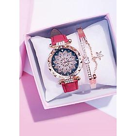 Đồng hồ thời trang nữ họa tiết kèm lắc tay xinh xắn
