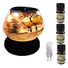 Đèn xông tinh dầu tam giác làng quê và 3 tinh dầu bạc hà Eco 10ml và 1 bóng đèn