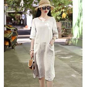 Đầm suông linen tay lỡ 2 túi bổ trước ArcticHunter, chất vải linen mềm mát, thời trang xuân hè 2021