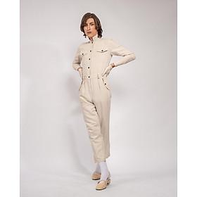 Jumpsuit Nữ Unisex_ Yvette LIBBY N'guyen Paris_SPIRIT ST. LOUIS_Màu Hạnh Nhân (Frosted Almond), Vải lanh cao cấp viền cotton lụa Ý