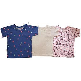Combo 3 áo thun bé gái vải cotton ngắn tay (giao màu ngẫu nhiên)