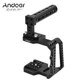 Andoer Video Camera Cage Aluminum Alloy with Hand Grip Compatible with BMPCC 4K/BMPCC 6K Camera