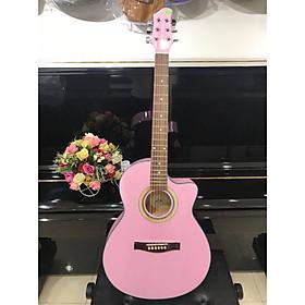 Đàn guitar Acoustic MKAC110, thùng eo, màu hồng, Việt Nam, bao da 2 lớp, bộ dây dự phòng(ảnh thật)