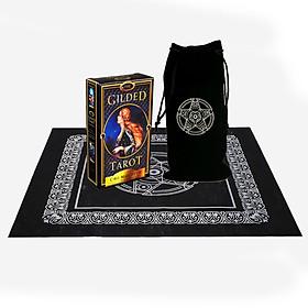 Combo Bộ Bài Bói The Gilded Tarot New Cao Cấp và Túi Nhung Đựng Tarot và Khăn Trải Bàn Tarot