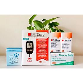 Combo Máy đo đường huyết OGCARE tặng kèm 100 Que+100 Kim lấy máu và 100 cồn sát khuẩn