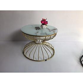 Bàn trà, bàn sofa chân vàng mặt kính in 3D bàn sofa đồng hồ cát BTS410