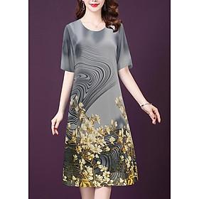 Đầm Voan Xinh In Hoa Trắng Kiểu Đầm Suông Thời Trang Trung Niên Bigsize GOTI 3244