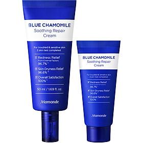 Bộ Kem Dưỡng Phục Hồi Và Làm Dịu Cho Da Nhạy Cảm Mamonde Blue Chamomile Soothing Repair Cream 50ml + 25ml