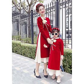Set áo dài cách tân cho mẹ bao gôm áo, chân vay và không bao gồm nấn trên đầu không bao gồm set của bé