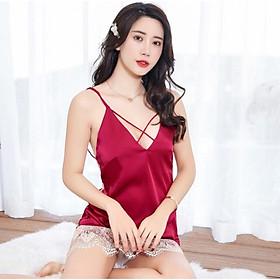 Váy ngủ sexy chất thun lạnh kết hợp ren lưới  SR0321