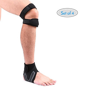 1 Pair Knee and Ankle Supports Set Breathable Adjustable Dual Strap Neoprene Knee Ankle Brace Support Straps for Injury Recovery R-1