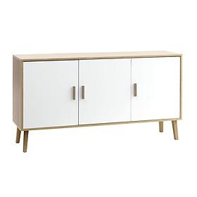 Tủ chén đĩa JYSK Gammelgab gỗ công nghiệp trắng/chân sồi 155x84x42cm