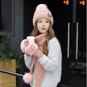 Bộ mũ nón len nữ kèm khăn+ găng tay có lót nỉ cao cấp