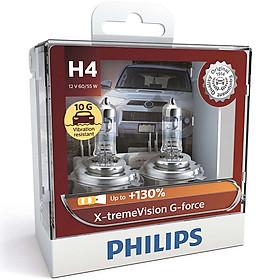 Hộp 2 Bóng đèn pha xe hơi Philips X-tremeVision G-force Plus + 130% H4 12342 XVG S2 12V 60/55W 3700K-Hàng chính hãng