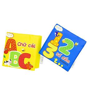 Combo 2 sách vải song ngữ Lalala baby chủ đề Số đếm và Chữ cái tiếng Việt made in Vietnam