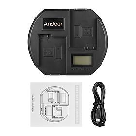 Ổ Sạc Nhanh Andoer Màn Hình LCD Đầu Cắm USB Cho Pin Nikon EN-EL15 (2 Khe) - Đen